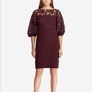 Ralph Lauren Women's Petite Lace Trim Sheath Dress